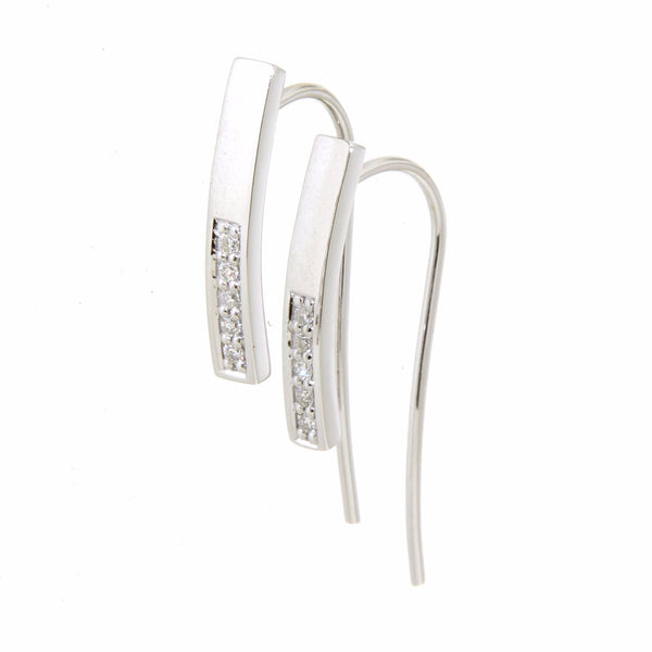 9ct white gold diamond set bar hook earrings