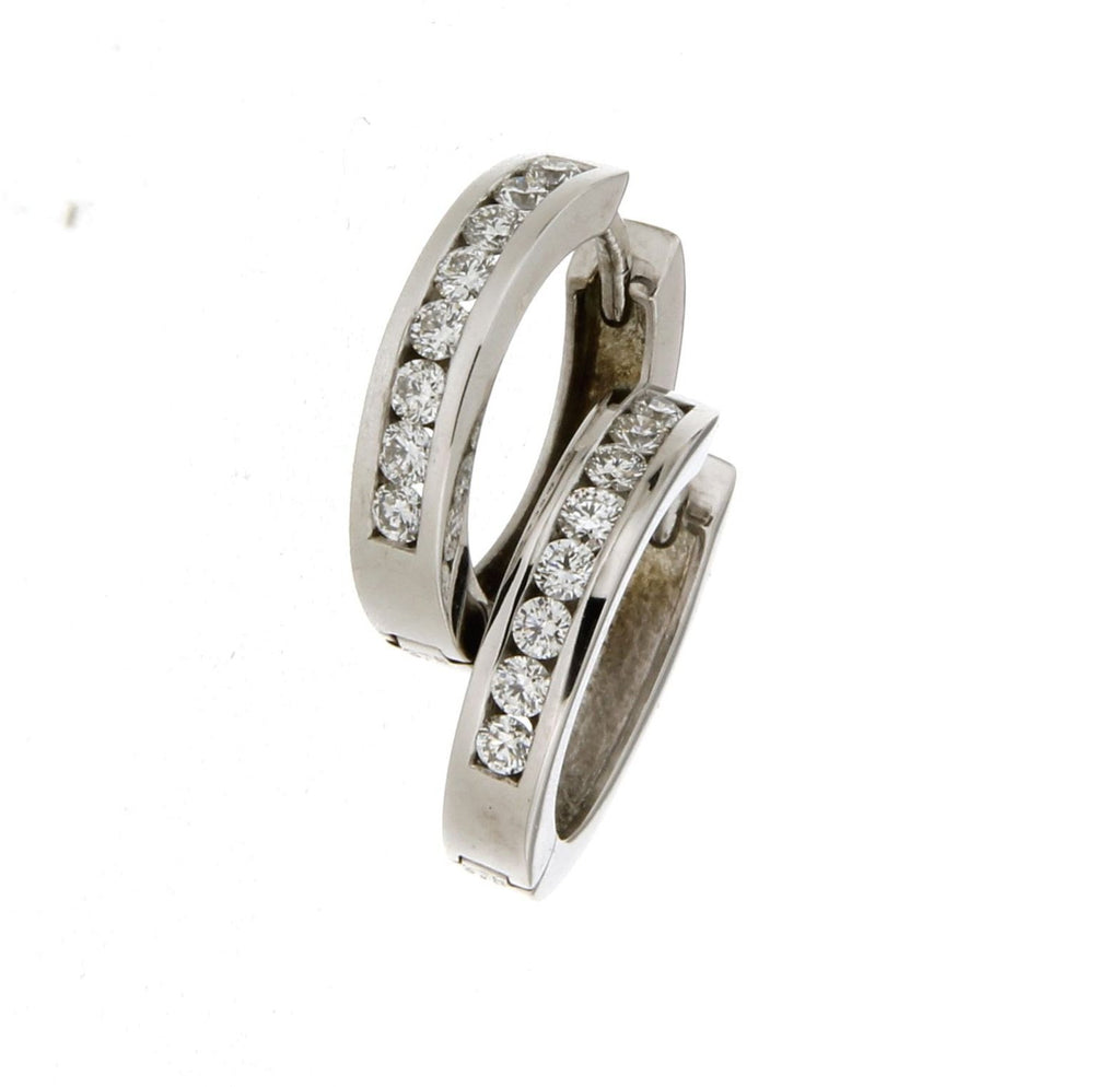 9ct white gold diamond channel set huggie earrings