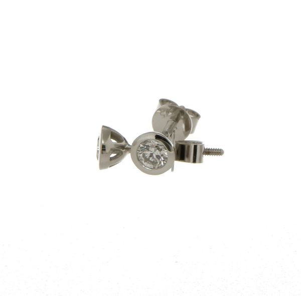 9ct white gold diamond bezel set studs thread back posts