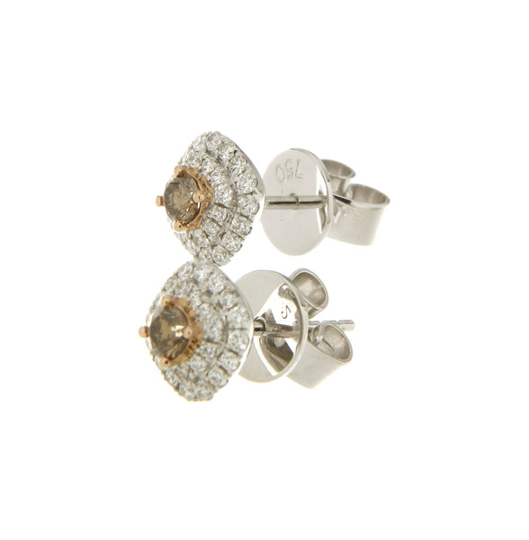 18ct white & rose gold Australian chocolate diamond cluster stud earrings