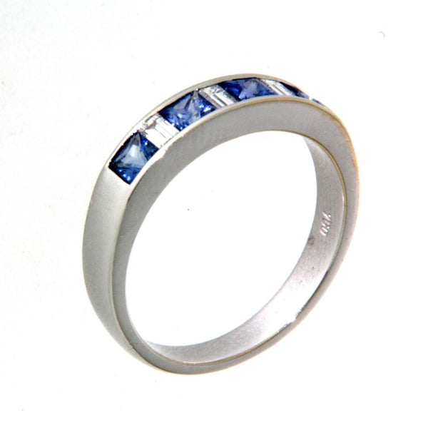 18ct white gold ceylon sapphire & diamond set ring