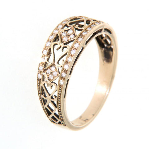 9ct yellow gold pierced diamond ring