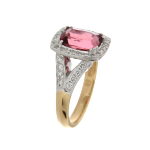 18ct yellow and white gold pink tourmaline & diamond cluster ring