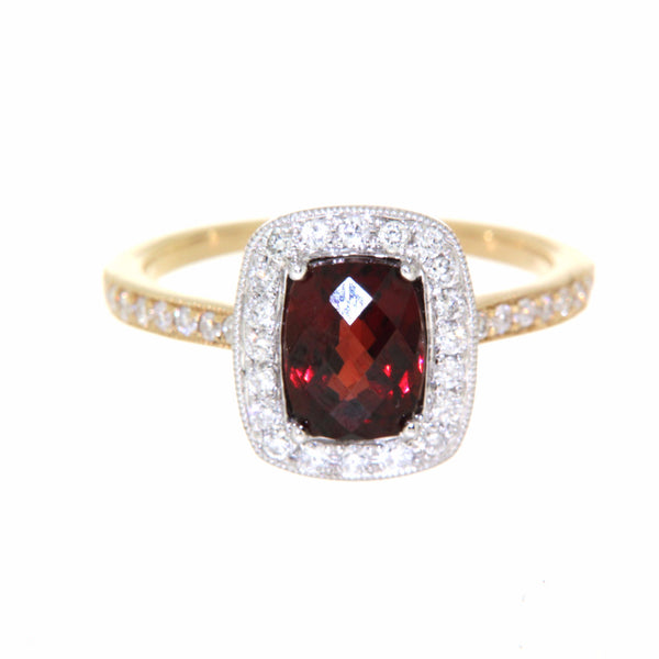 9ct yellow gold & white gold garnet & diamond cluster ring
