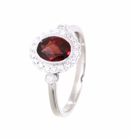 9ct white gold oval garnet & diamond cluster ring