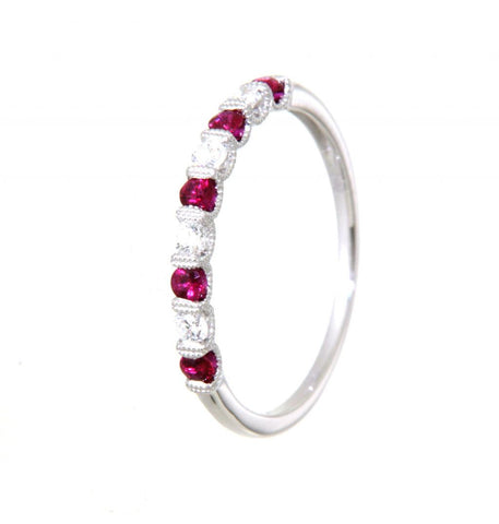 18ct white gold 5 ruby & 4 diamond ring