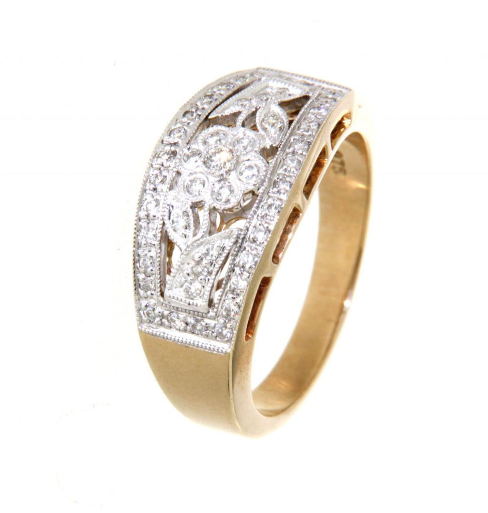 9ct yellow and white gold flower design diamond ring