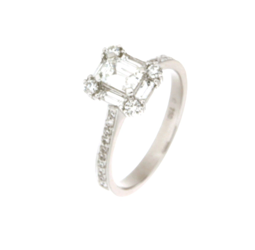 white gold rings brilliant crown rhodium emerald cut ring carat plated