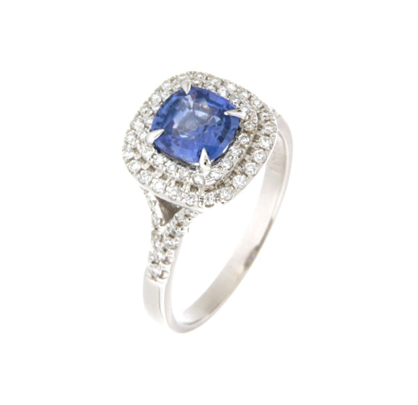 18ct white gold Ceylon sapphire & double row diamond cluster ring