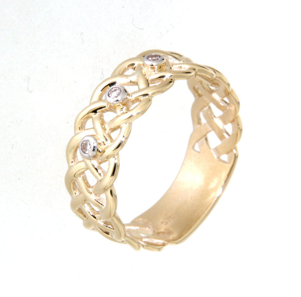 9ct yellow gold woven diamond ring
