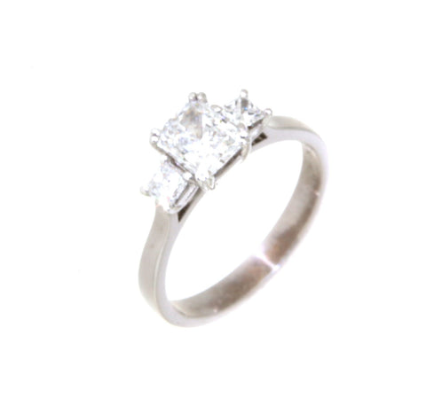 18ct white gold three radiant cut diamond set ring