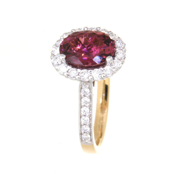 18ct yellow and white gold oval pink tourmaline & diamond cluster ring