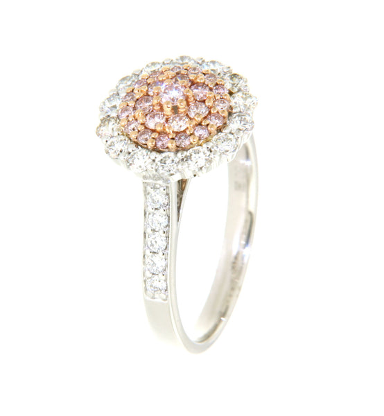 18ct white gold pink & white diamond cluster ring