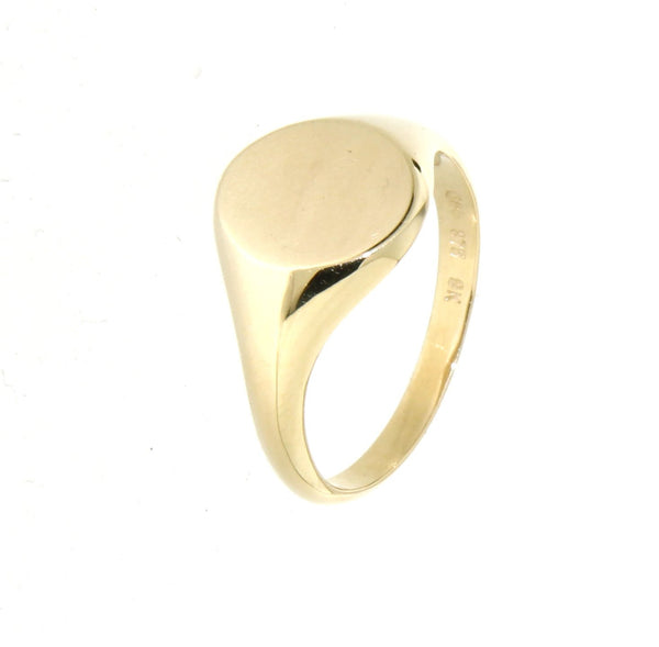9ct gold plain oval signet ring
