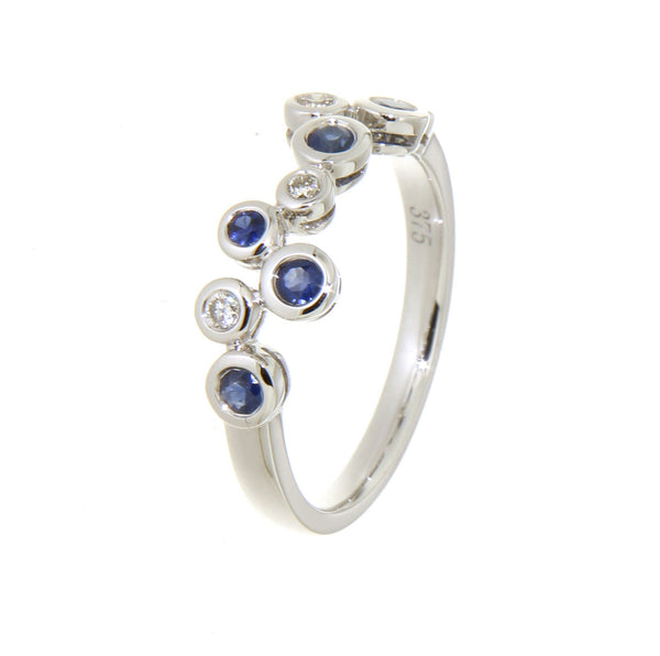 9ct white gold bezel set blue sapphire & diamond set circle ring