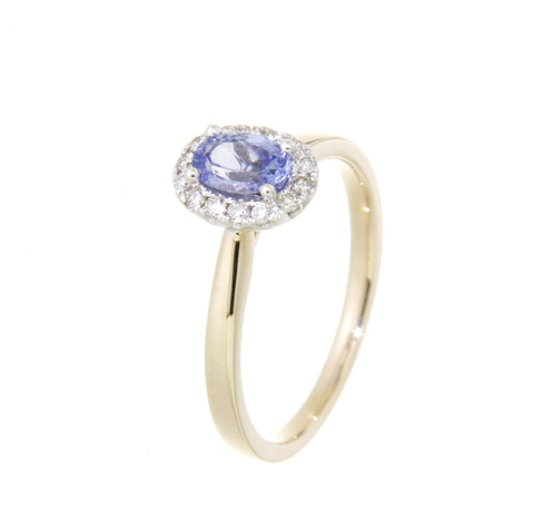 9ct yellow & white gold oval tanzanite & diamond cluster ring