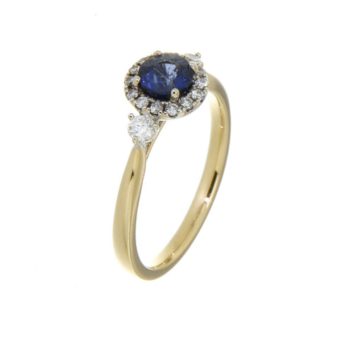18ct yellow & white gold blue sapphire & diamond set cluster ring