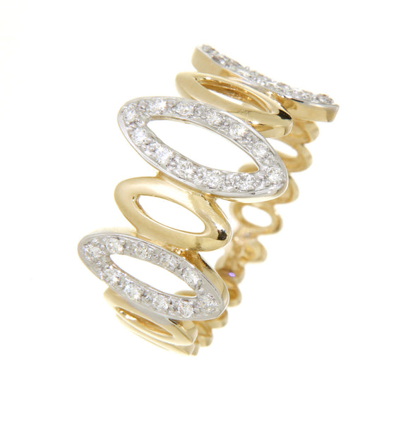 18ct Yellow Gold Diamond Set Open Marquise Shape Ring