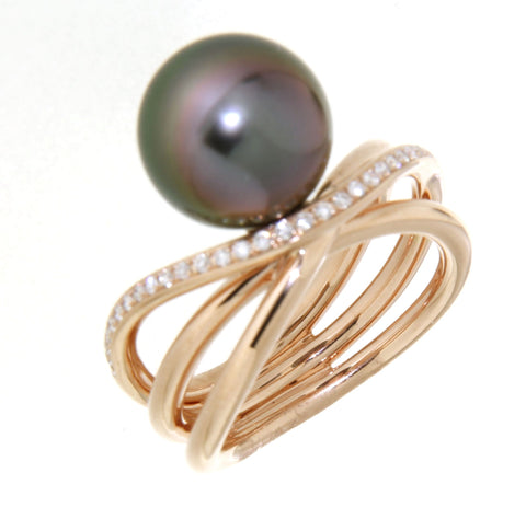 Free flowing rose gold Tahitian pearl & diamond set ring.