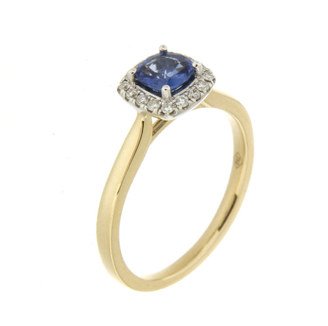 18ct yellow & white gold Ceylon sapphire & diamond cluster ring