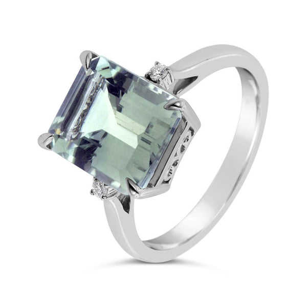 9ct white gold green amethyst emerald cut & diamond set ring