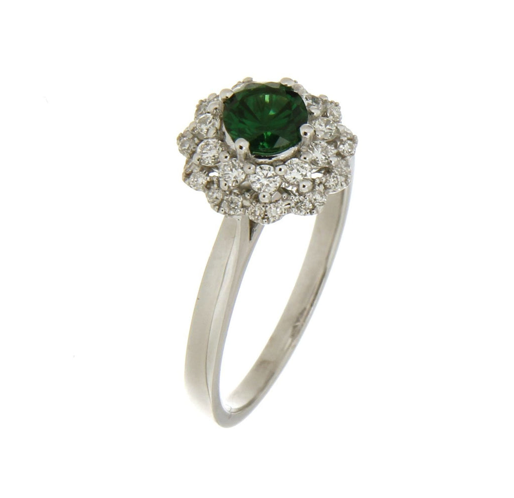 18ct White gold Tsavorite garnet & diamond cluster ring
