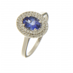 18ct  white gold oval tanzanite & diamond cluster ring