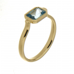 9ct yellow gold bezel set blue topaz ring