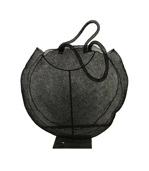 Hand Woven Wire Bag on stand - Blu Peter