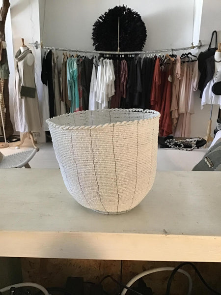 White beaded Bowl - Blu Peter