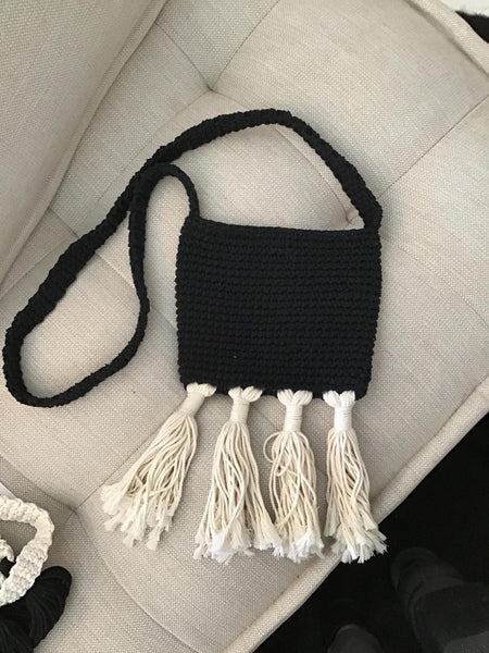 Fringe Crochet Shoulder Bag - Blu Peter