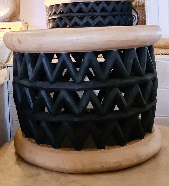 Cameroon Zigzag Stool Natural with Black Middle