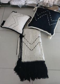 Black Natural cotton Cushion with White Stitching