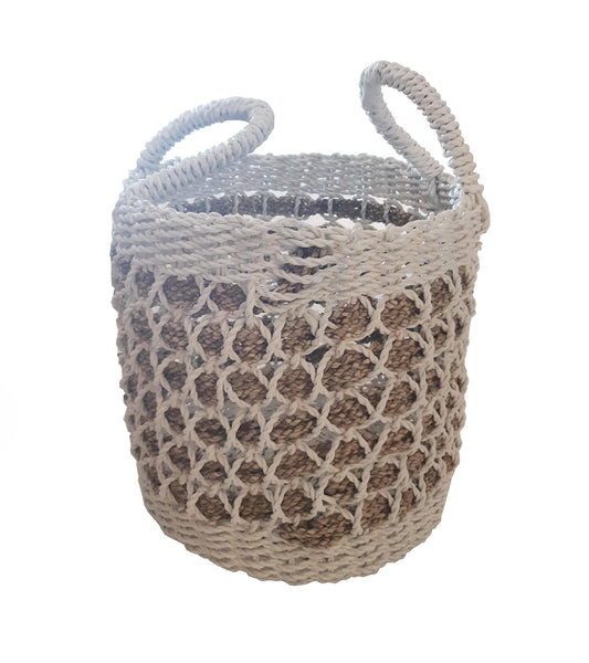 White/Nat Zig zag basket - Blu Peter