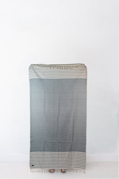 Traditional Blue Striped Turkish Towel