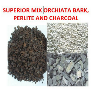 Bark, perlite and charcoal