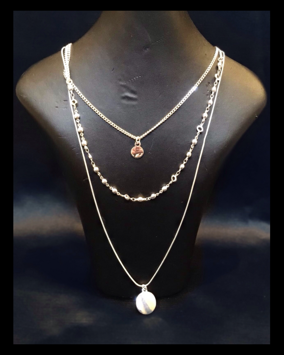 Three strand disc necklace