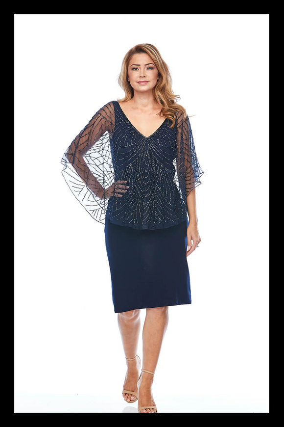 Layla Jones beaded cape dress