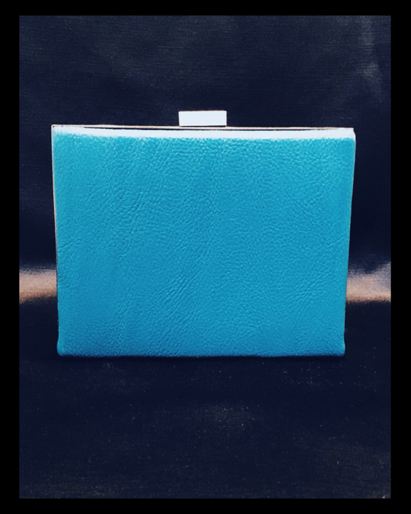 Azure blue hard case clutch