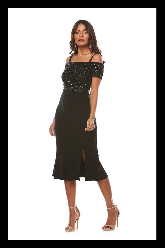Jesse Harper black sequin cocktail dress