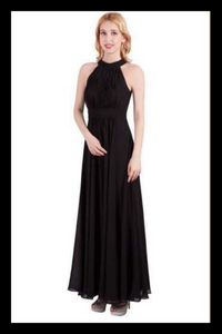 Female model wearing a full length black dress with a high neck