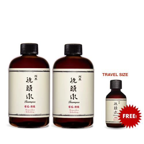 Momordica Shampoo苦瓜洗頭水 All Hair/Scalp Types 250ml x 2 with Free 1 x Travel size shampoo