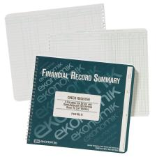 "Ekonomik Check / Deposit Register - 40 Sheet(s) - Wire Bound - 10"" x 8 3/4"" Sheet Size - White Sheet(s) - Green Print Color - Recycled - 1 Each"