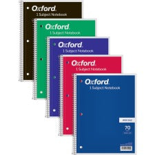 "TOPS Wide Rule 1-subject Spiral Notebook - 70 Sheets - Wire Bound - 10 1/2"" x 8"" - 0.3"" x 8""10.5"" - Assorted Paper - Black, Red, Blue, Green, Purple Cover - Card Stock Cover - Perforated, Subject, Easy Tear, Durable Cover - 1Each"