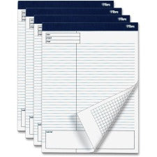 "TOPS Project Planning Pads - 8 1/2"" x 11 3/4"" Sheet Size - White - Chipboard - Perforated - 4 / Pack"