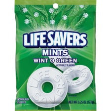 Wrigley Life Savers Mints Wint O Green Hard Candies - Wintergreen - Individually Wrapped - 6.25 oz
