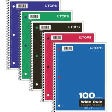 "TOPS Wide Rule 1-subject Spiral Notebook - 100 Sheets - Wire Bound - 10 1/2"" x 8"" - 0.3"" x 8""10.5"" - Assorted Paper - Black, Red, Blue, Green, Purple Cover - Card Stock Cover - Perforated, Subject, Easy Tear, Durable Cover - 1Each"