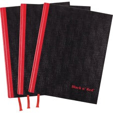 "Black n' Red Casebound Hardcover Notebook 3-pack - Case Bound - 12"" x 8.5""1.7"" - Matte Cover - Hard Cover, Bleed Resistant, Ribbon Marker - 3 / Pack"