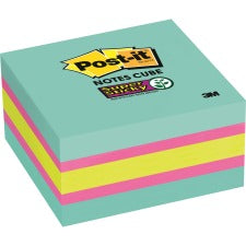 "Post-it® Super Sticky Notes Cubes - 3"" x 3"" - Square - 360 Sheets per Pad - Bright Blue, Pink, Green - Paper - Sticky, Recyclable - 1 Pack"