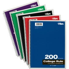 "TOPS 5 - subject College - ruled Notebooks - Letter - 200 Sheets - Wire Bound - 8 1/2"" x 11"" - 0.3"" x 8.5""11"" - Assorted Paper - Black, Red, Blue, Green, Purple Cover - Divider, Perforated - 1Each"